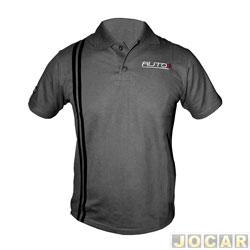 4ff4be9a78 Camisa polo - AutoMais - com listra lateral - tamanho P - cinza - cada (