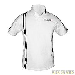 3670063348 Camisa polo - AutoMais - com listra lateral - tamanho P - branca - cada (