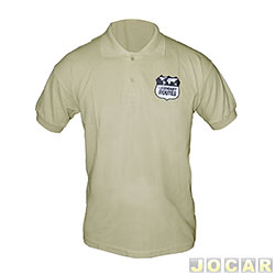 ea24746aac Camisa polo - AutoMais - Legendary Routes-tamanho GG-100% algodão - bege