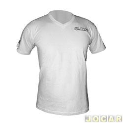 Camiseta - AutoMais - gola V - tamanho P - branca - cada (unidade) - 93044