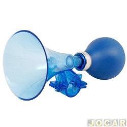 Buzina para bicicleta - Western - tipo fom fom - plástico e borracha  - azul - cada (unidade) - BZ-3