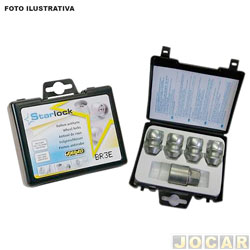 Kit antifurto para rodas - Farad - Azera/Creta/HB20/Tucson/Cerato/ Sorento/Corolla/Etios/Hilux - Starlock 4+1 - para rodas de liga leve e aço - porcas - jogo - H1/E
